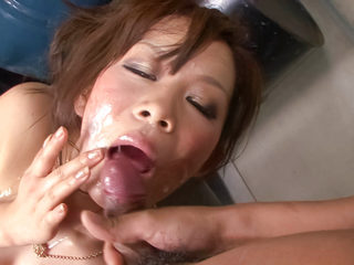 Kinky little Ren Mizumori is bound and gagged as her big..