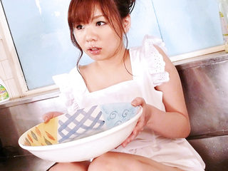 Aoi in the kitchen sink her big tits oiled up and squeezed..