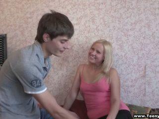 Blonde teeny taking balls deep