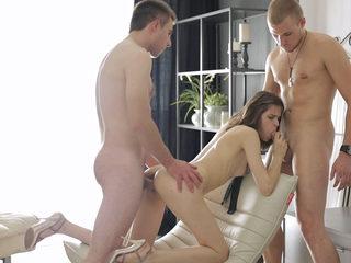 Blindfolded surprise threeway
